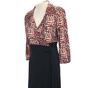 Studio AA Black Tan Salmon Wrap Dress 8